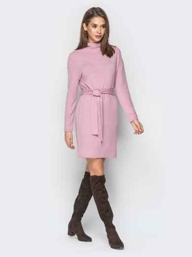 Платье розового цвета со спущенным плечом - 18213, фото 2 – интернет-магазин Dressa