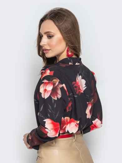 c552b92b6c0 Принтованная блузка из софта чёрная 20543 – купить в Киеве