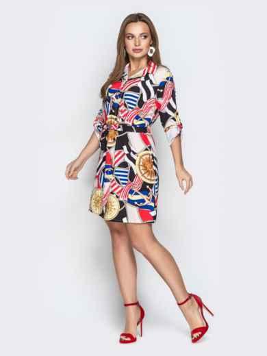 Принтованное платье-рубашка с рукавами на шлевках - 21348, фото 2 – интернет-магазин Dressa