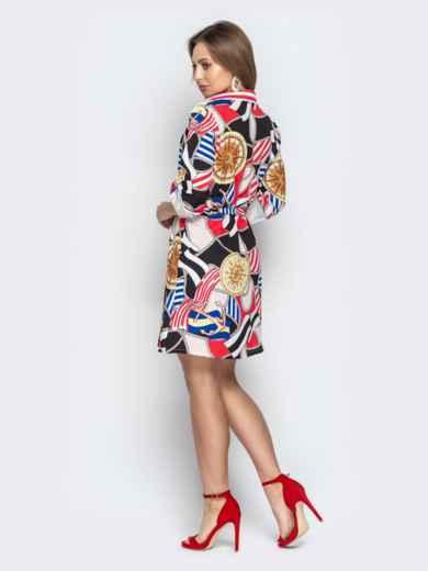 Принтованное платье-рубашка с рукавами на шлевках - 21348, фото 3 – интернет-магазин Dressa