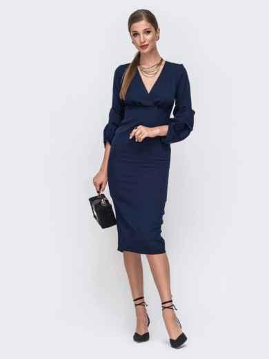 Приталенное платье-миди с отрезным лифом тёмно-синее  49432, фото 1
