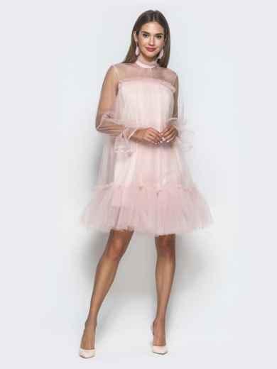 Пудровое платье-трапеция из фатина с воланом по низу - 40121, фото 2 – интернет-магазин Dressa