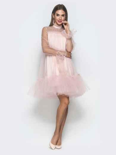 Пудровое платье-трапеция из фатина с воланом по низу - 40121, фото 3 – интернет-магазин Dressa