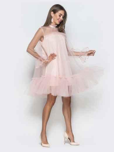 Пудровое платье-трапеция из фатина с воланом по низу - 40121, фото 4 – интернет-магазин Dressa