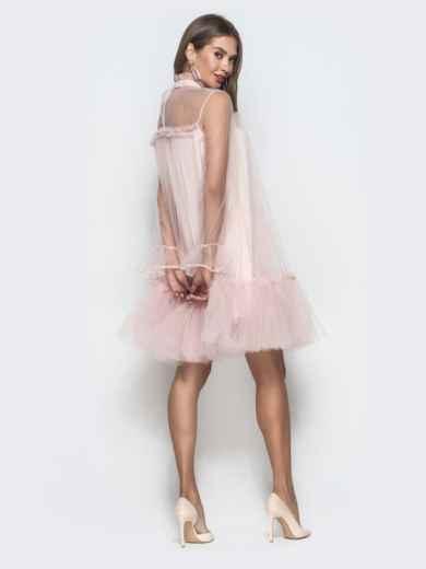 Пудровое платье-трапеция из фатина с воланом по низу - 40121, фото 5 – интернет-магазин Dressa