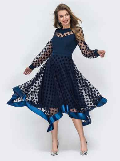 Тёмно-синее платье в горох с рукавами и юбкой из фатина 45848, фото 2