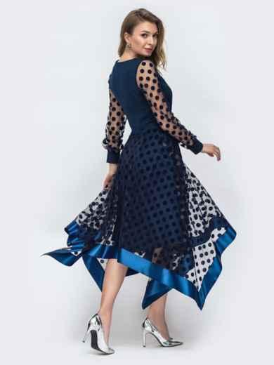 Тёмно-синее платье в горох с рукавами и юбкой из фатина 45848, фото 3