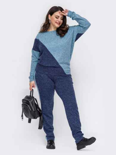 Теплый костюм большого размера с брюками синий 52769, фото 1
