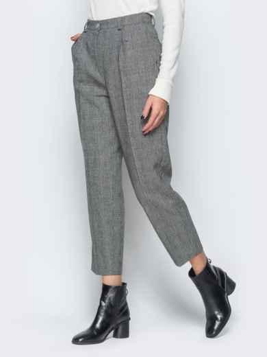 Укороченные брюки в серую клетку с высокой посадкой - 17665, фото 2 – интернет-магазин Dressa