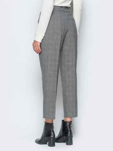 Укороченные брюки в серую клетку с высокой посадкой - 17665, фото 3 – интернет-магазин Dressa