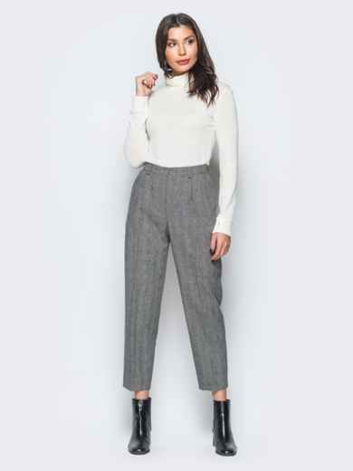 Укороченные брюки в серую клетку с высокой посадкой - 17665, фото 4 – интернет-магазин Dressa