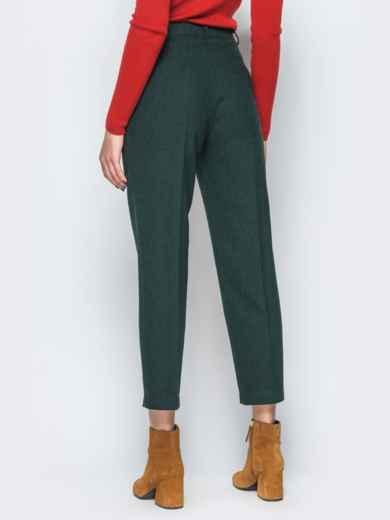 Укороченные зелёные брюки в черную клетку с высокой посадкой - 17666, фото 2 – интернет-магазин Dressa