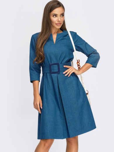 Синее платье-трапеция из джинса с фигурным вырезом 55223, фото 1