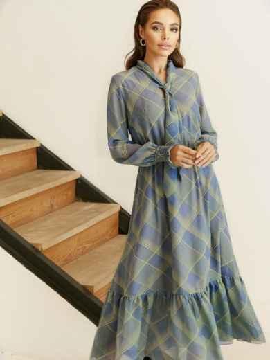 Расклешенное платье в клетку и воланом по низу серое 53054, фото 1