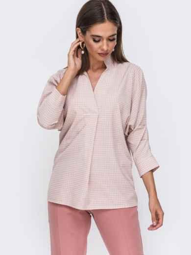 """Розовая блузка с принтом и рукавом """"летучая мышь"""" 49503, фото 1"""