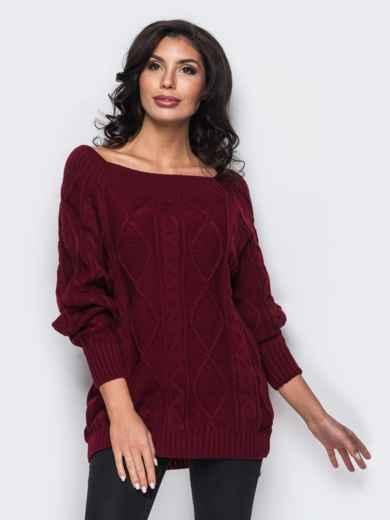 Бордовый свитер с открытыми плечами 25049, фото 1