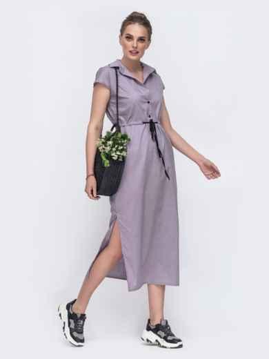 Длинное платье с кулиской и разрезами по бокам серое 48167, фото 2