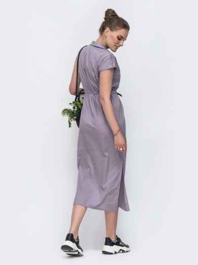 Длинное платье с кулиской и разрезами по бокам серое 48167, фото 3