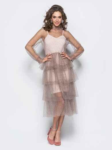 Фатиновое платье розового цвета с многослойной юбкой - 17893, фото 1 – интернет-магазин Dressa