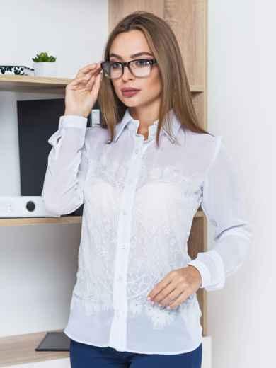 Классическая шифоновая блузка с французским кружевом белая - 14121, фото 4 – интернет-магазин Dressa