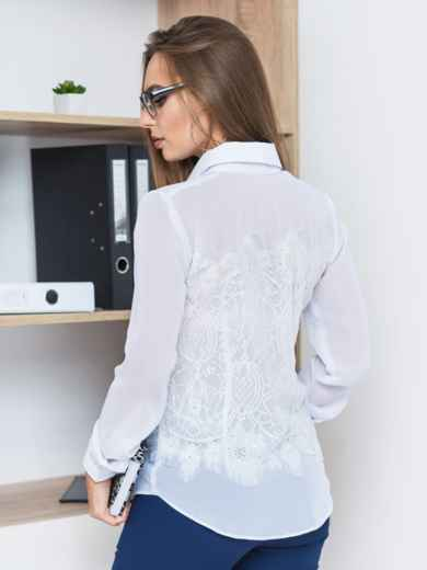 Классическая шифоновая блузка с французским кружевом белая - 14121, фото 5 – интернет-магазин Dressa