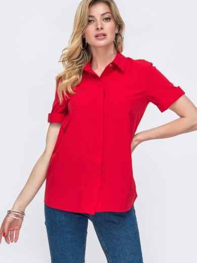 Красная рубашка с коротким рукавом и супатной застёжкой 48598, фото 2