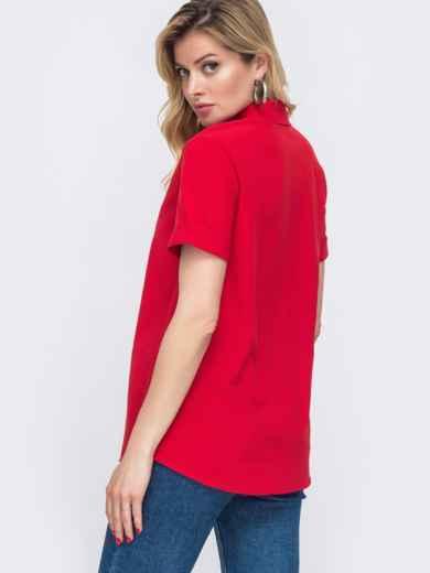 Красная рубашка с коротким рукавом и супатной застёжкой 48598, фото 3