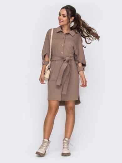Платье-рубашка бежевого цвета с рукавом-реглан 50817, фото 1