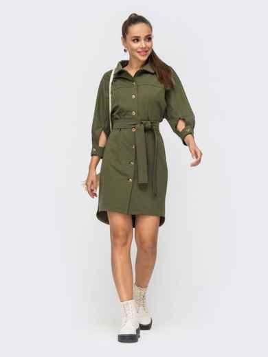 Платье-рубашка цвета хаки с рукавом-реглан 50815, фото 1