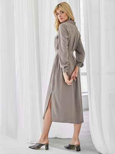 Платье-рубашка с разрезами по бокам бежевое 50064, фото 3