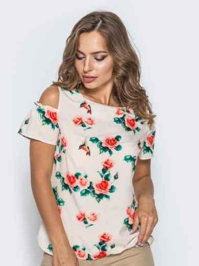 Розовая блузка в цветочный принт с открытыми плечами - 14035, фото 1 – интернет-магазин Dressa