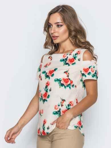 Розовая блузка в цветочный принт с открытыми плечами - 14035, фото 2 – интернет-магазин Dressa