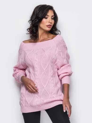 Розовый свитер с открытыми плечами 25048, фото 1
