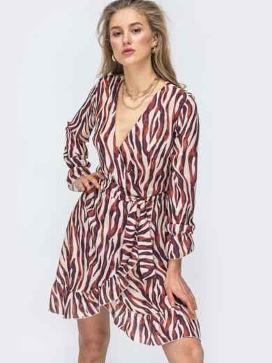 Шифоновое платье на запах с принтом цвета бордовое 45428, фото 2