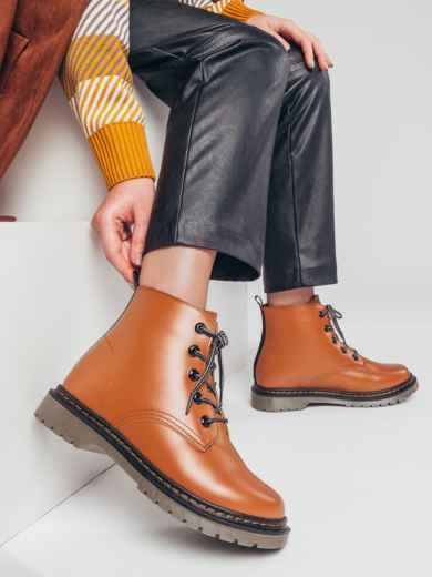 Зимние ботинки из эко-кожи коричневые 51377, фото 1