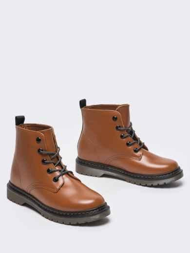 Зимние ботинки из эко-кожи коричневые 51377, фото 2