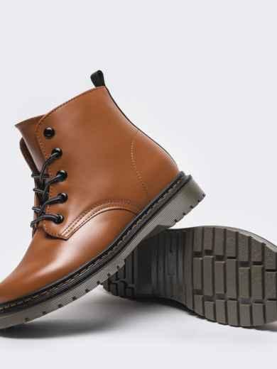 Зимние ботинки из эко-кожи коричневые 51377, фото 3