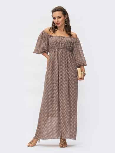 Шифоновое платье-макси в горох с завышенной талией коричневое 54377, фото 1
