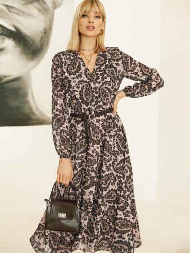 Бежевое платье с принтом и юбкой-полусолнце 52830, фото 1