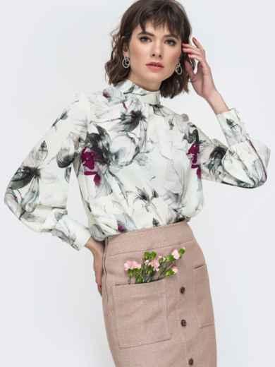 Белая блузка с принтом и воротником-стойкой 45043, фото 1