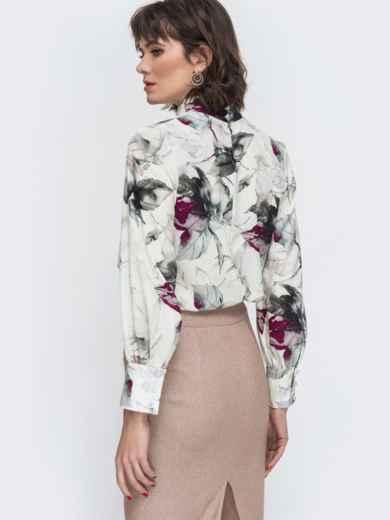 Белая блузка с принтом и воротником-стойкой 45043, фото 3