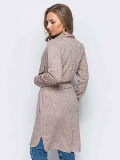 Кардиган пудрового цвета с удлиненной спинкой - 16352, фото 3 – интернет-магазин Dressa