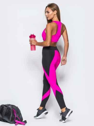 Комплект для фитнеса с лосинами и топом розового цвета - 17165, фото 2 – интернет-магазин Dressa