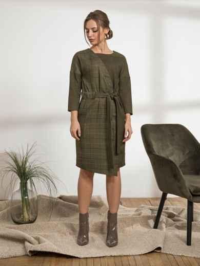 """Платье с рукавом """"летучая мышь"""" цвета хаки - 44230, фото 1 – интернет-магазин Dressa"""