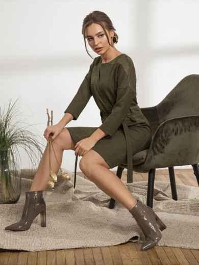 """Платье с рукавом """"летучая мышь"""" цвета хаки - 44230, фото 2 – интернет-магазин Dressa"""