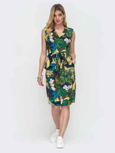 Платье в цветочный принт с кулиской по талии 48242, фото 1