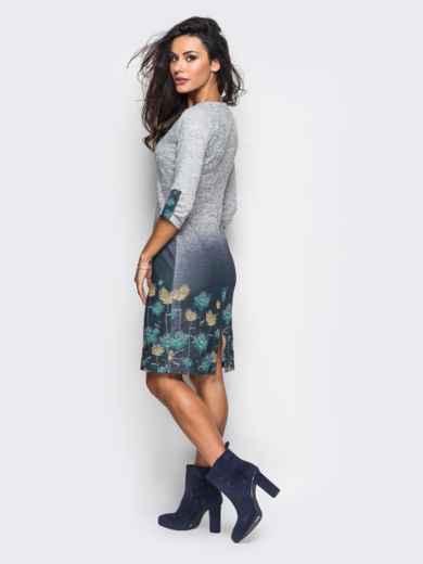 Принтованное трикотажное платье со шнуровкой на горловине - 13161, фото 2 – интернет-магазин Dressa
