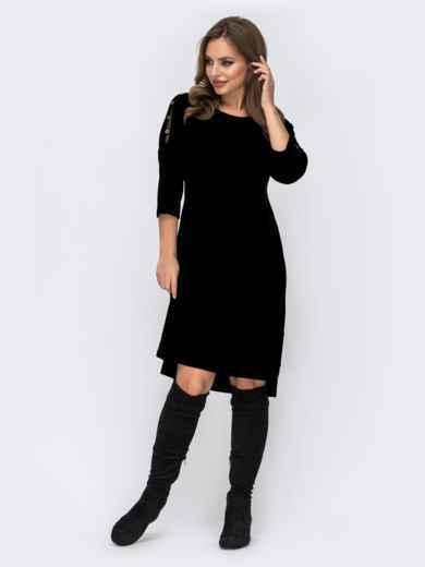 Трикотажное платье батал с удлиненной спинкой чёрное 44064, фото 1