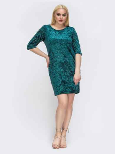Зеленое платье батал из бархата с пайетками 43346, фото 1