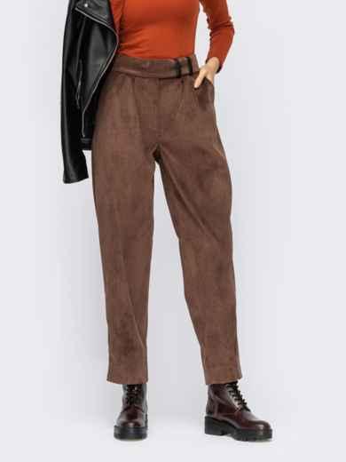 Коричневі штани звужені до низу з вельвету 55244, фото 1